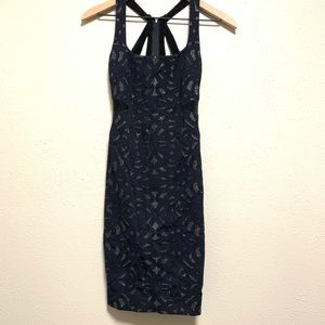 Nicole Miller navy & black body con dress